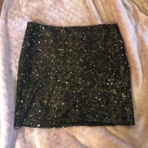 LF Black Sequin Skirt
